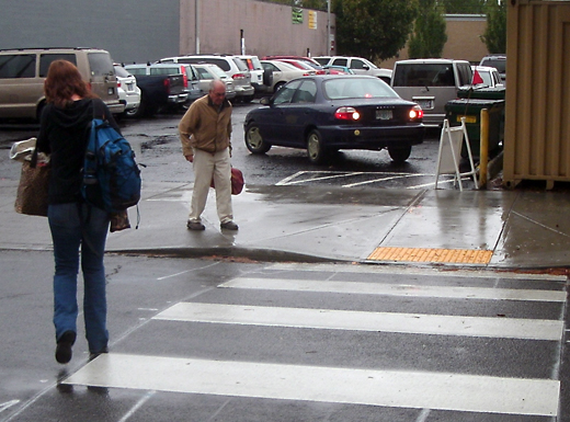 Getting to parking across the street from the Hollywood District's Northeast Community Center is made easier and safer by a mid-block crossing. (Phill Colombo)