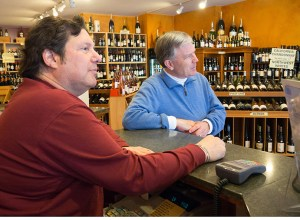 Great Wine Buys manager Murray Koodish, left, and long-time customer and Irvington resident, Kevin Lynch.