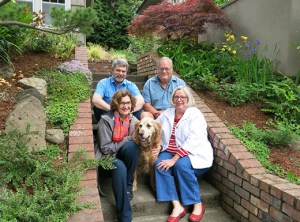 Bruce Richmond, clockwise from top left, Rick Walker, Susan Merfeld and Joan Walker, share custody of the Walker's 12-year-old Golden Retriever, Tucker. The Walkers live across the street from the entrance to Grant High School. Merfeld and Richmond live nearby and often drop by to walk Tucker in Grant Park.