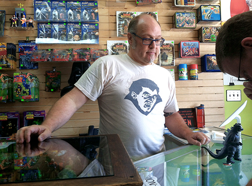 Proprietor Mark Pedersen of the Dr. Tongue's I Has That Shoppe in Roseway has been bringing toys to the collecting community since the early 1990s. (Jane Perkins)