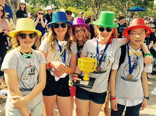 The Fastidious Lego Llamas, a team of five middle school girls from Beaumont Middle School, won the trophy for robot design at the North American Open Championship. (Fastidious Lego Llamas)