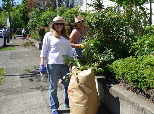Windermere Stellar real estate brokers from Northeast Portland, Sal Koeller, left, and Lisa Stevens  took the day off from showing houses and got busy donating their time to charity at Northeast Portland's St. Andrew's Nativity School during Windermere's company-wide Community Service Day. (Windermere Stellar)