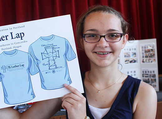 Trinity Lutheran School student Annie Bahr designed the T-shirt for the Luther Lap. (Trinity Lutheran School)