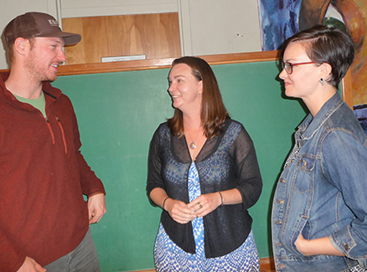Michelle Jones, center, has used crowdfunding — contributions made through an online platform — to help start the two-year Wayfinding Academy, a new approach to post-secondary education. Colin Koach, left, and Rebecca Smith, right, are on the 20-member board drawn from several fields. (Janet Goetze)