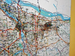 A pin map in the Northeast Portland offices of JOIN shows where the homeless are housed by landlords engaged by the non-profit. A staff of 30 backed by volunteers use federal, county and city grants to help the homeless find adequate housing. (Phill Colombo)