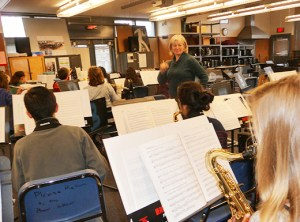 Music teacher Cynthia Plank has about 300 students in music classes, which include an award-winning jazz band. Fund-raising enables her to hire teachers to work with some students in small groups. (Janet Goetze)