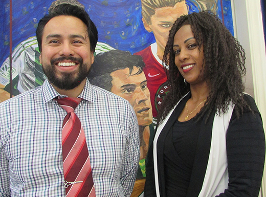 Melat Asfaw, right, will re-brand her salon space in 42nd Street Station as MB42. In May, Asfaw brought in a new partner, Roberto Villalobos, left, who opened a barbershop in the eastern portion of the salon. (Ted Perkins)