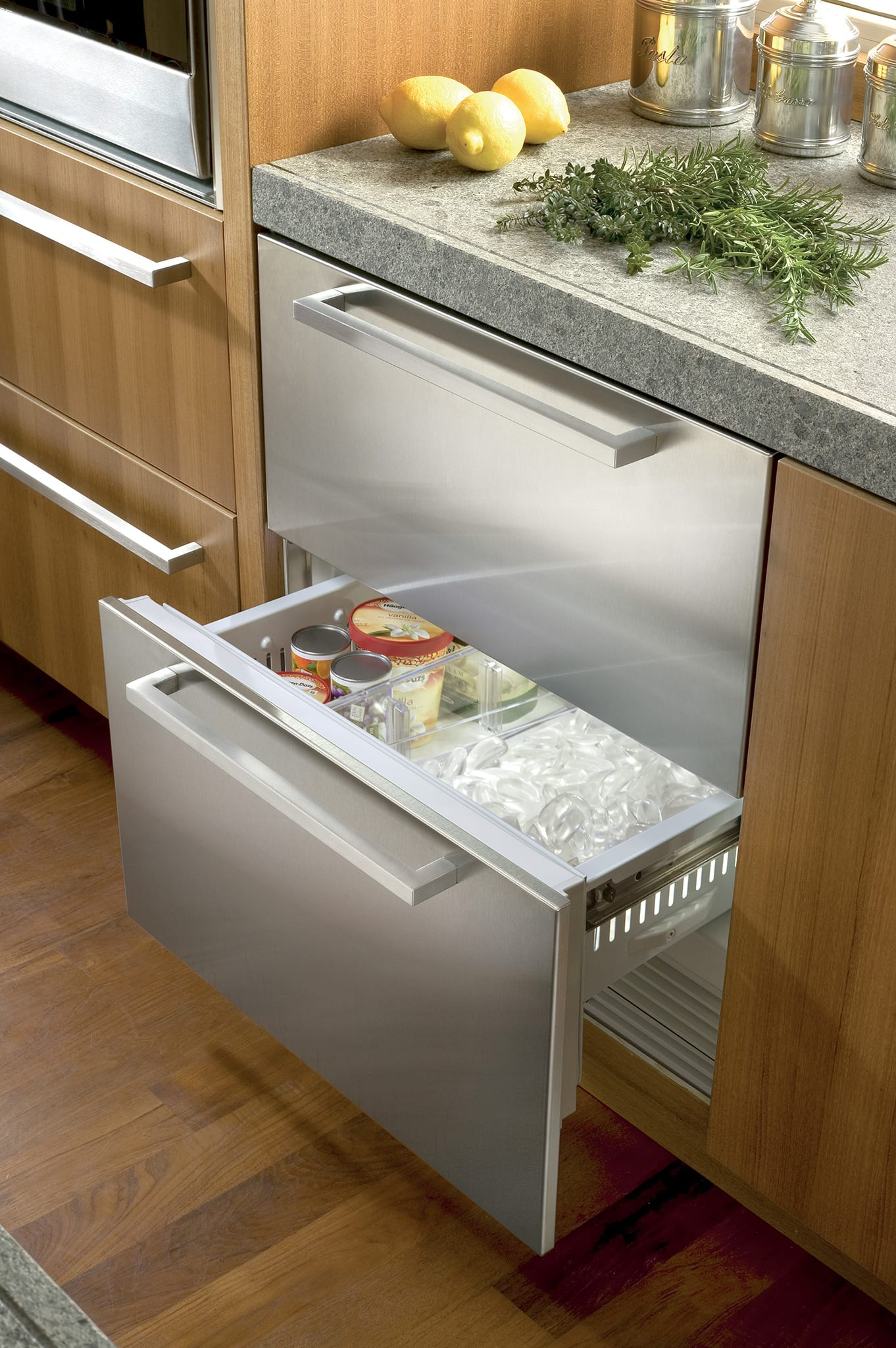 30 freezer drawers with ice maker panel ready