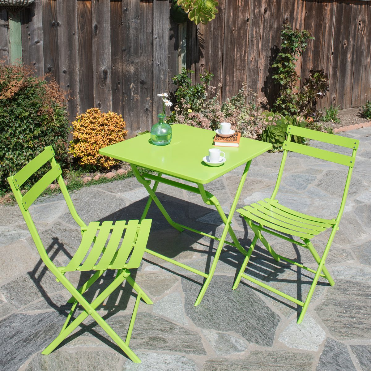 lime green bistro chairs chair design uk corvus rio 3 piece square steel patio folding