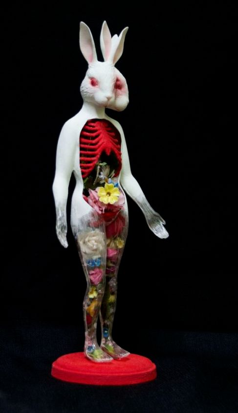 """""""Made From Delicate Parts"""", laser-sintered polyamide 3-d print, vintage anatomical model, paint, paper-clay, flocking, vintage millinery flowers,and vintage millinery flowers, 2015, Elizabeth Shupe"""