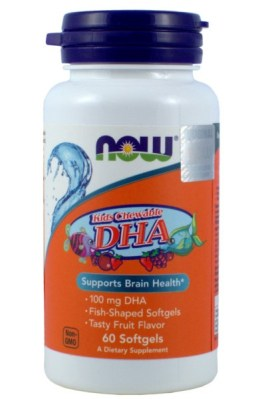 NOW FOODS KIDS DHA 100MG 60K.  SMAK OWOCOWY