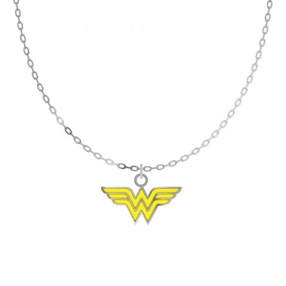 DC Comics Wonder Woman WW Yellow Chest Logo Necklace