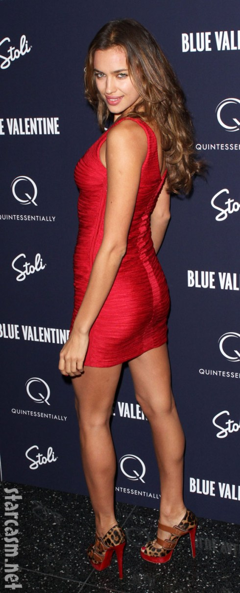 Irina Shayk in a booty-flattering red dress at the Blue Valentine Premiere December 7 2010
