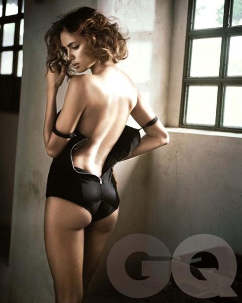 Irina Shayk in sexy black lingerie in Spanish GQ