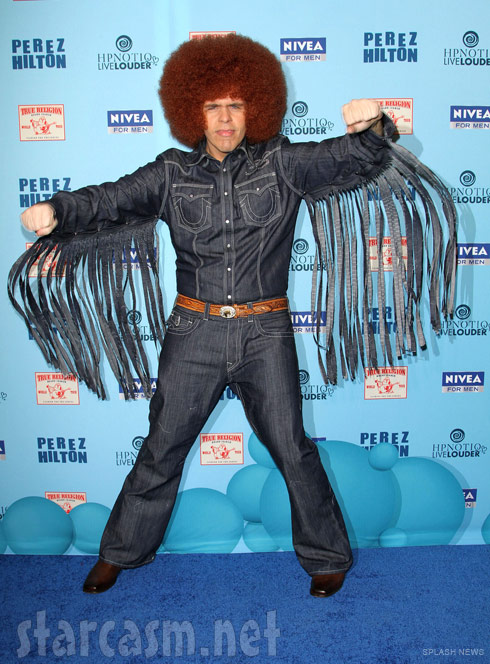 Perez Hilton in denim and an afro for his 33rd birthday party