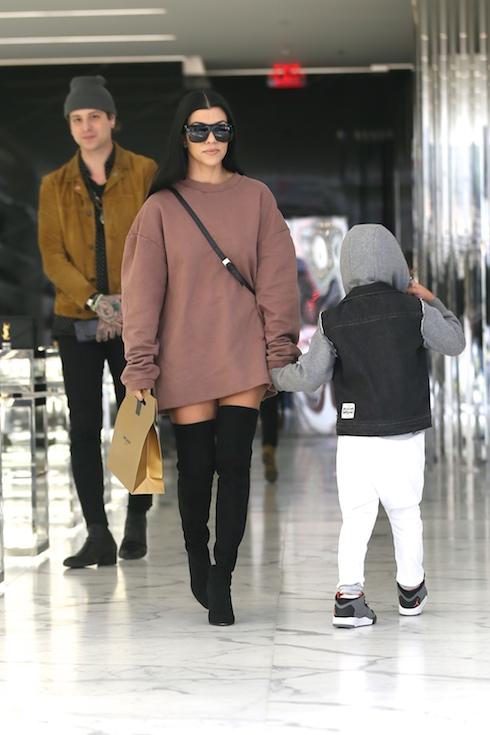 Kourtney Kardashian shopping on Rodeo Drive at Yves Saint Laurent with her son Featuring: Kourtney Kardashian Where: Los Angeles, California, United States When: 30 Nov 2015 Credit: Owen Beiny/WENN.com