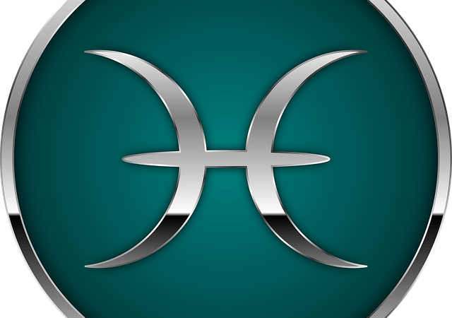 pisces glyph on sea green background