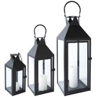 Lantern Metal Black Glass with Door Metal Lantern Garden