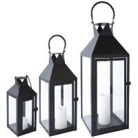 Lantern Metal Black Glass with Door Metal Lantern Garden ...