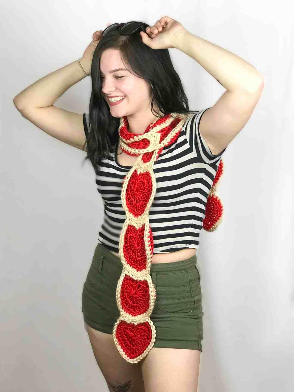 Free Crochet Heart Scarf Pattern