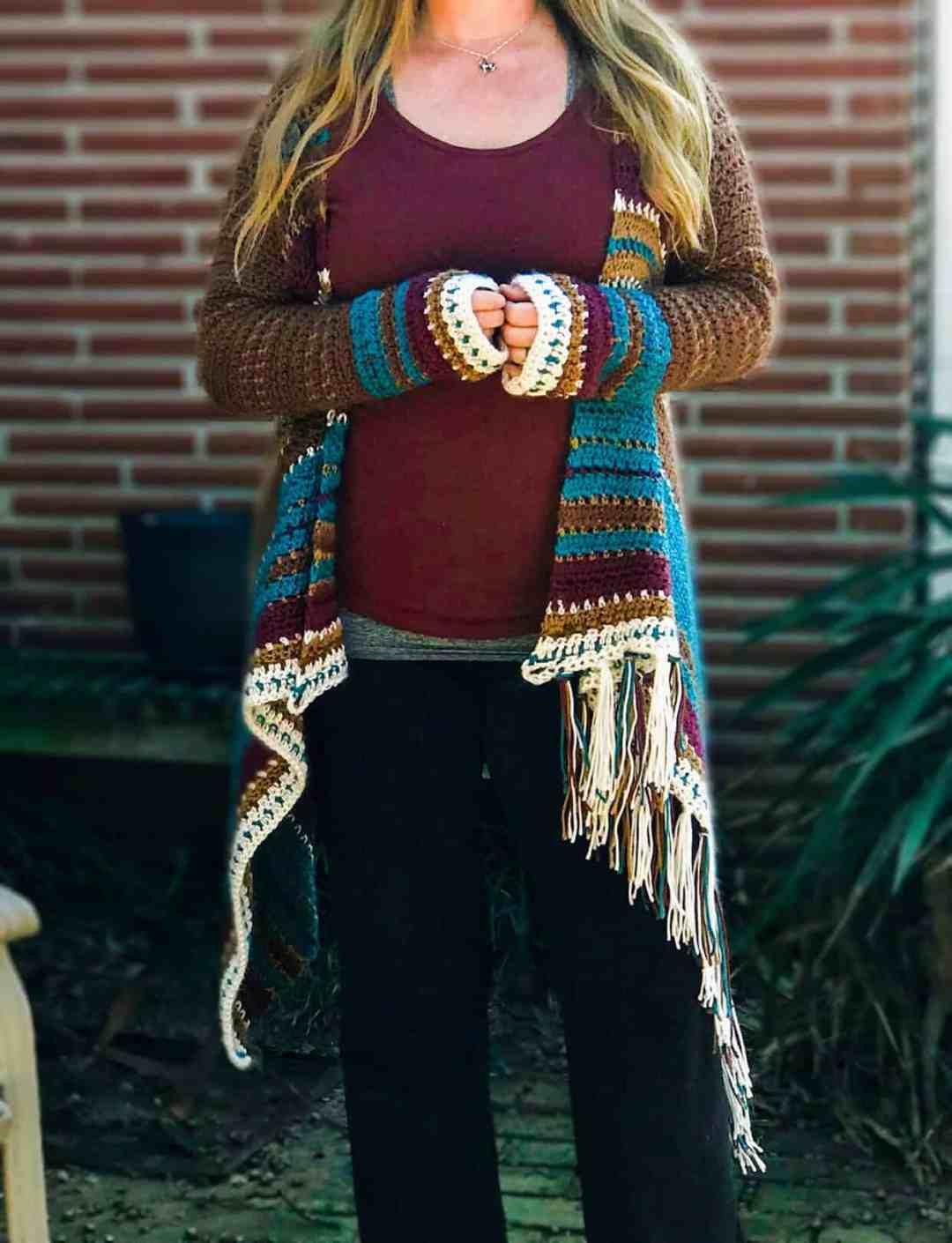 Navajo Inspired Blanket Cardigan Free Crochet Pattern Beginner