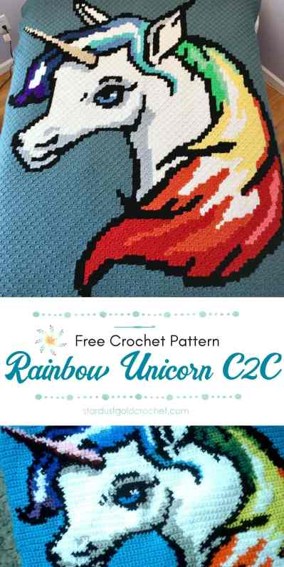 Rainbow Unicorn Graph by Stardust Gold Crochet PIN