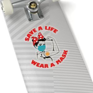 Rosie the Riveter Save a Life Wear a Mask Sticker Kiss Cut