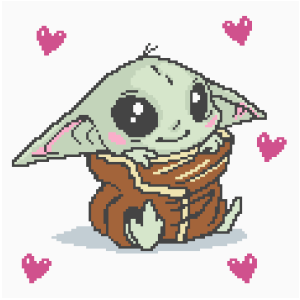 Baby Yoda with Hearts C2C Crochet Pattern