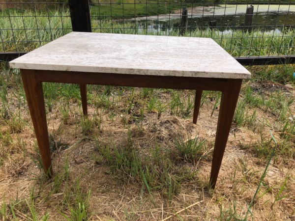 Cream Travertine Marble Coffee Table -mid Century Modern