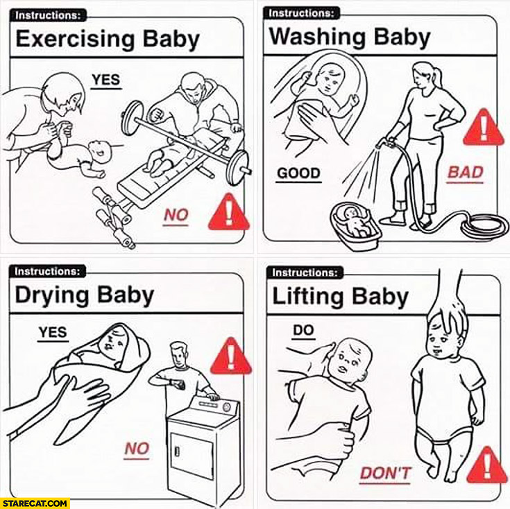 Baby instructions manual exercising washing drying lifting