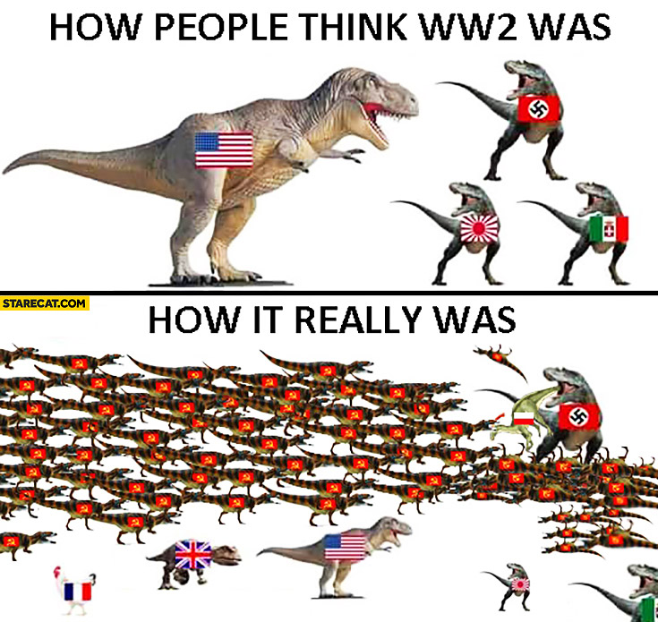 How people think World War 2 was how it really was WW2 explained on dinosaurs  StareCatcom