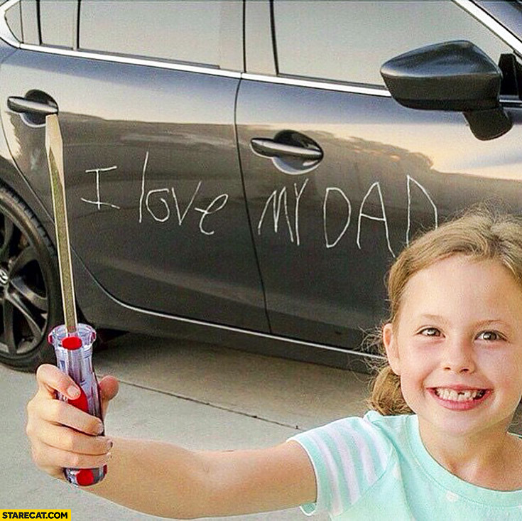 Programming Cute Wallpaper I Love My Dad On A Car With A Screwdriver Daughter Kid