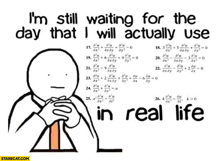 I'm still waiting for the day I will actually use math in