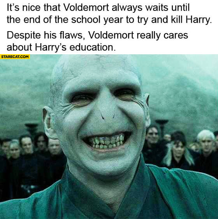 Its Nice That Voldemort Waits Until The End Of School