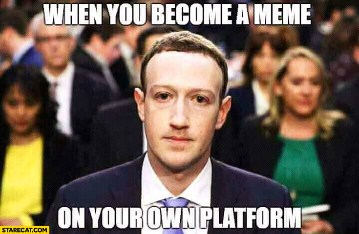Mark Zuckerberg when you become a meme on your own