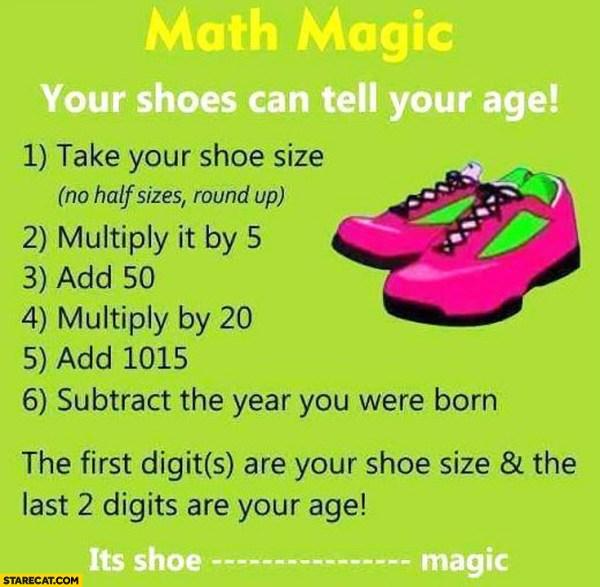 Math Magic Shoes Age Trick