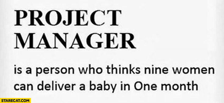 Project manager person who thinks nine women can deliver a