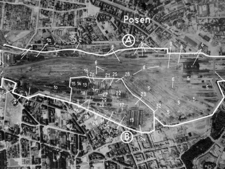 Zdjęcie lotnicze Poznania z 1944r.