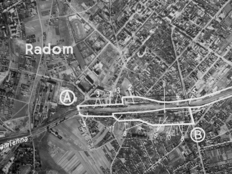 Zdjęcie lotnicze Radomia z 1943r.