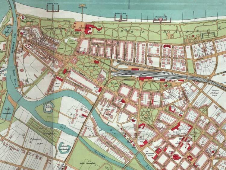 Plan Miasta Kolobrzegu Z 1929r Nakladka Na Wspolczesne Mapy