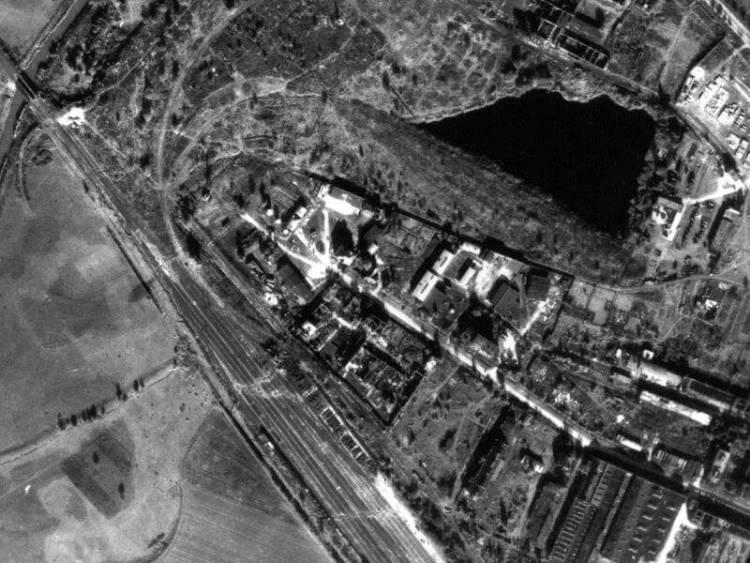 Zdjęcie lotnicze Wrocławia z 1945r.