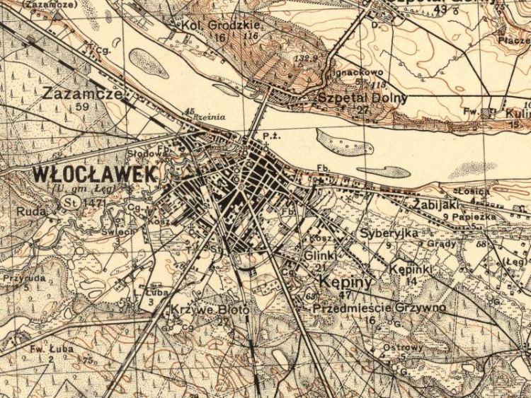 Mapa Włocławka z 1930r.