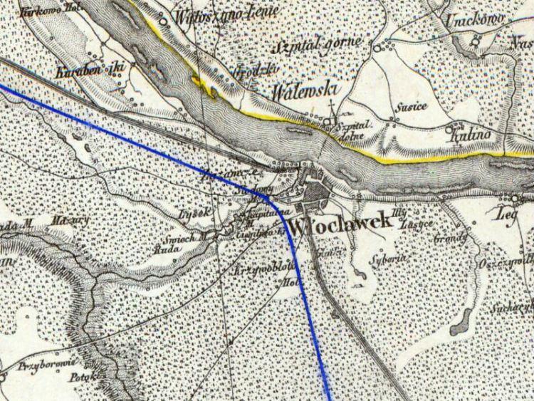 Mapa Włocławka z ok. 1850r.