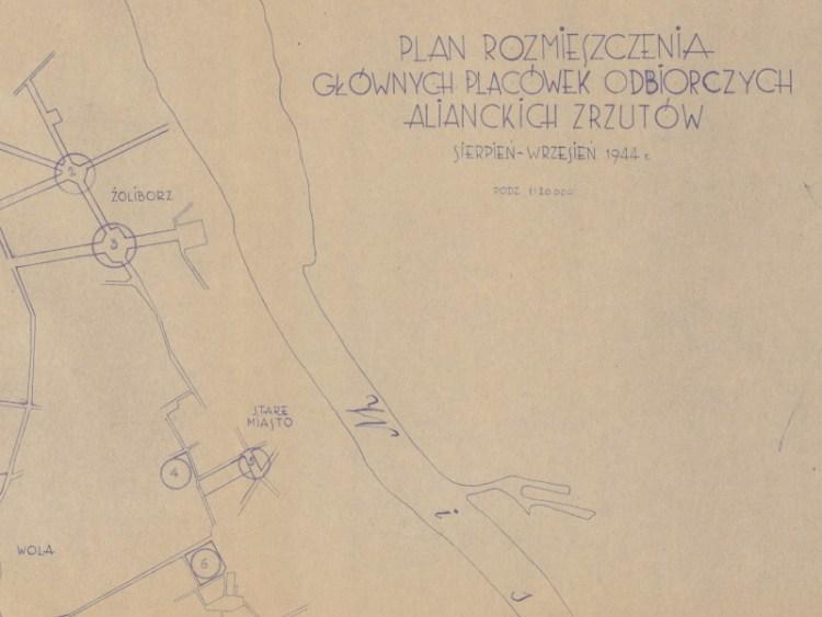 Plan rozmieszczenia głównych placówek odbiorczych alianckich zrzutów sierpień-wrzesień 1944r.