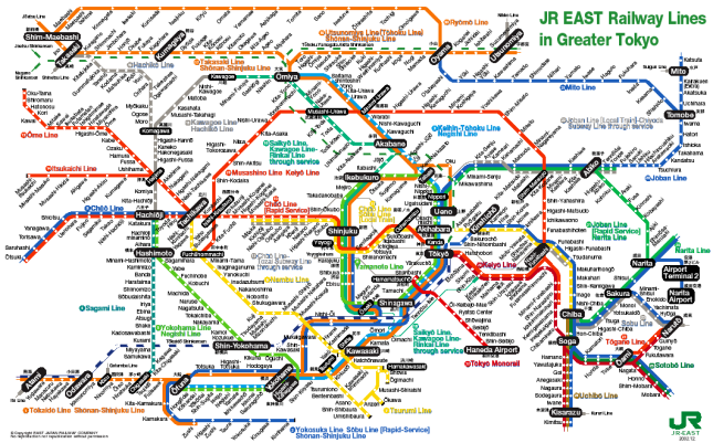 Greater Tokyo Train Map