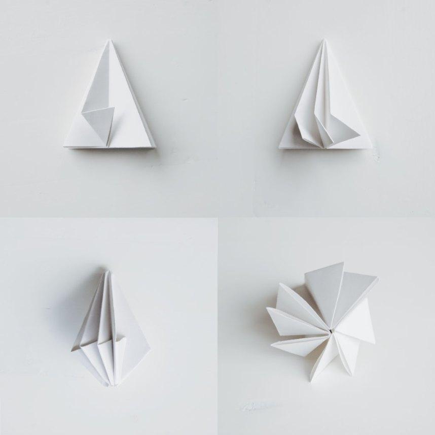 DIY Papirdiamant fold hjørnerne en af gangen