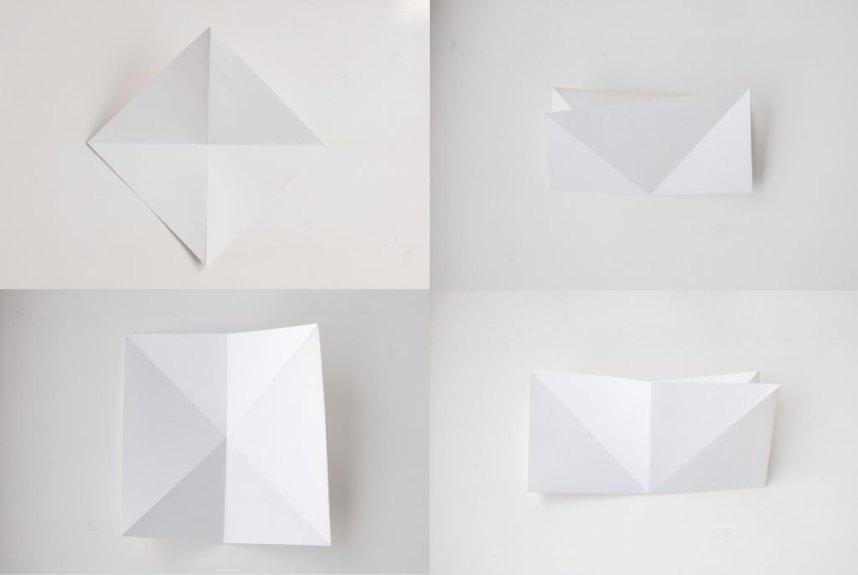 Papirdiamant fold papiret i halvt på langs og fra hjørne til hjørne