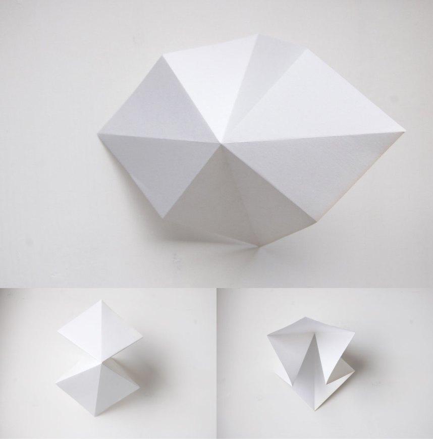 DIY Papirdiamant papiret lukkes nu sammen