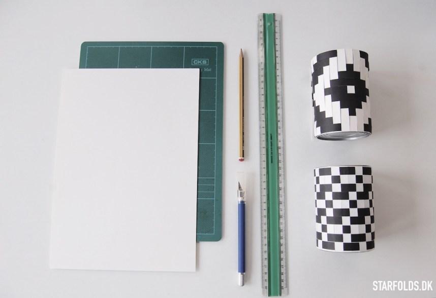 Flettet moenster i papir her er hvad du skal bruge for at komme igang
