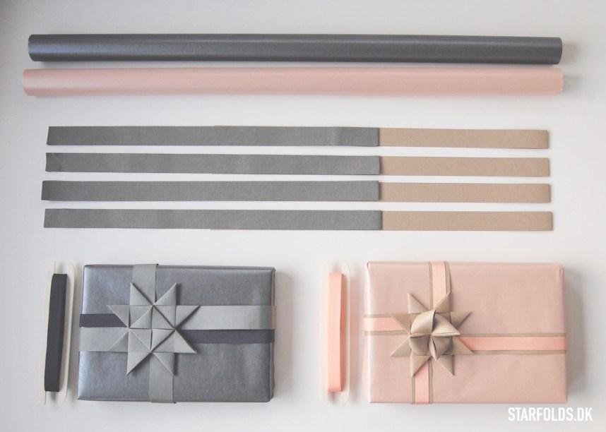 DIY Gaveindpakning - Brug strimler til julestjerner som gavebånd